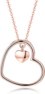 GIVA 925 Sterling Silver Rose Gold Heart Pendant for Women and Girls with BIS Hallmark, Certification and Warranty (Chain Included)