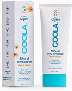 COOLA Organic Mineral Sunscreen & Sunblock Body Lotion, Skin Care for Daily Protection, Broad Spectrum SPF 30, Reef Safe, ...
