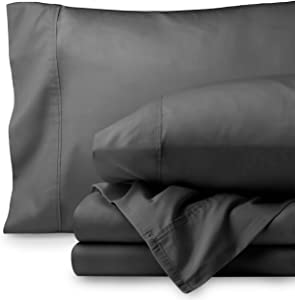 Bare Home Egyptian Cotton 300 Thread Count Sateen Twin Sheet Set (Twin, Grey)