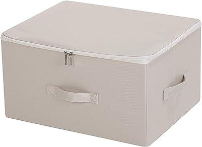 Large Size Bedding Storage Bins with Zip Lid, Folding & 3 Handles, Beige