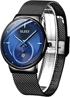 Men Minimalist Watches Mesh Band Black Blue Fashion Watch, Male New Modern Summer Watch Waterproof Date Watches for Business Casual Father's Day
