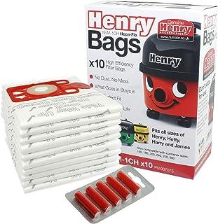 Numatic Henry Hetty etc Hepa Flo Vacuum Cleaner Dust Bags (Pack of 10 + 5 Freshener Sticks)