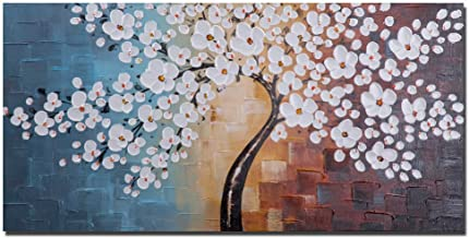 Wieco Art Blooming life 100% Hand-painted Oil Painting, Stretched and Framed Modern Canvas Wall Art for Home Decor Floral Oil Paintings on Canvas Art 40x20inch (100x50cm) Multi FL1059_2
