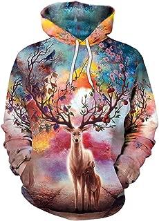 GLUDEAR Unisex Realistic 3D Digital Print Pullover Hoodie Hooded Sweatshirt,Reindeer,S/M
