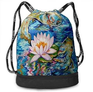 Sport Bundle Drawstring Backpack Koi Fish Original Watercolor Painting Travel Durable Large Space Gym Sack Inspiring