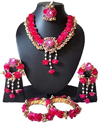 Floral Pink Non Precious Metal Jewellery Set for Women and Girls for Mehendi and Haldi