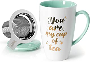 Sweese 201.210 Porcelain Tea Mug with Infuser and Lid - You Are My Cup of Tea, 15 OZ, Mint Green