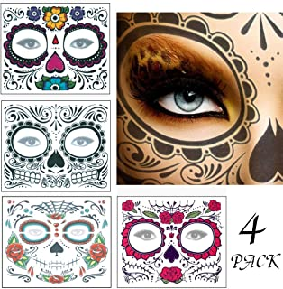 4 Pack Sugar Skull Face Tattoo, Day of Dead Face Tattoos, Skeleton Face Tattoo with Rose Temporary Face Tattoos Kit for Women Men