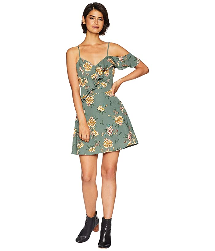 J.O.A. One Shoulder Ruffle Fit and Flare Dress (Green Floral) Women