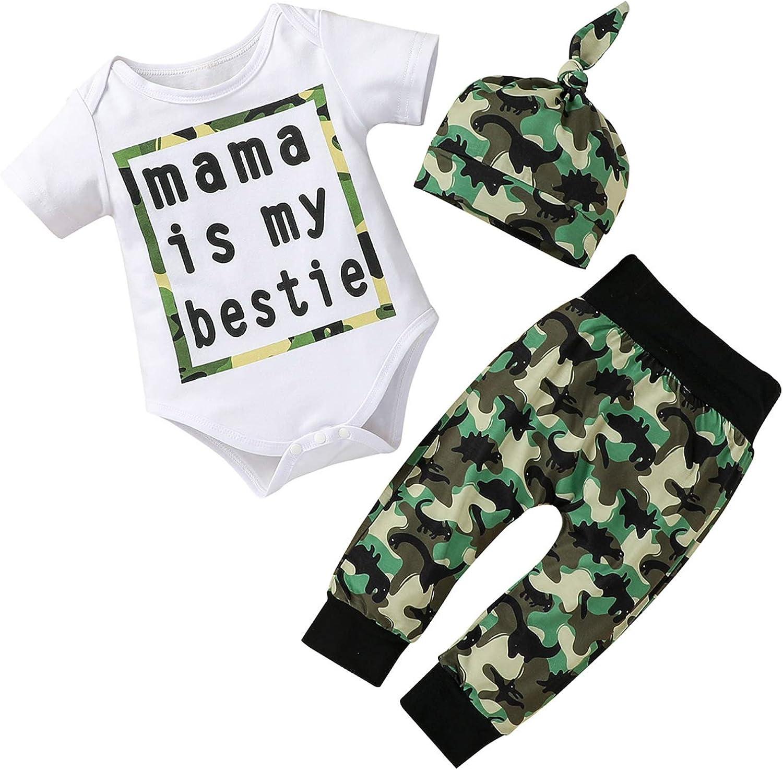 Infant Baby Boy Spring Summer Clothes Short Sleeve Bodysuit Romper Top Dinosaur Camouflage Pants Hat 3PCS Outfits Set