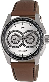 Fastrack Black Magic Men's Silver Dial Leather Band Watch - T3089SL07