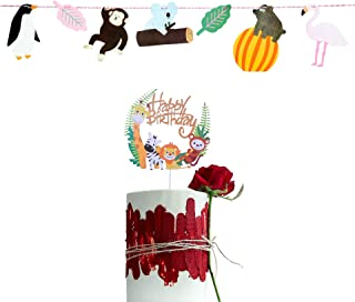 YUINYO Jungle Safari Animal Party Decoration, Jungle Animals Party Banner - Animated cartoon Theme Party Cake Décor - Baby...