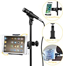 Moukey Mmsph-1 Mic Stand Tablet Holder, Phone Holder for Microphone Music Stand, Car Headrest iPad Mount for Smartphones Apple Samsung Galaxy Surface Pro/Book iPhone XR/XS/MAX/X/8 7 Plus