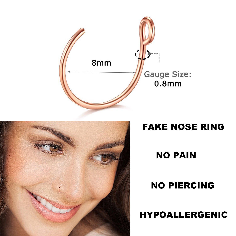 Fake Nose Ring, 20G Faux Piercing Jewelry 8mm Fake Nose Ring Hoop for Faux Lip Septum Nose Ring Set