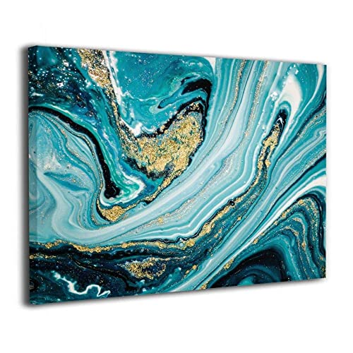 Okoart Canvas Wall Art Prints Touch Of Gold Teal Fluid Agate Marble Texture  Picture Paintings Modern