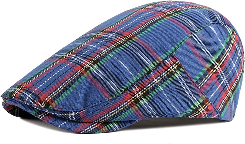 HONGJIU Newsboy Cap Beret Men Women Flat Caps Cotton Plaid Hat Outdoors (Color : 3, Hat Size : Adjustable 55to59cm)