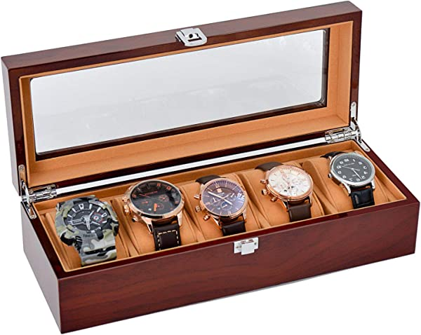 JINDILONG Watch Case For Men 5 Slots Solid Wood Storage Organizer Display Box Large Holder And Durable