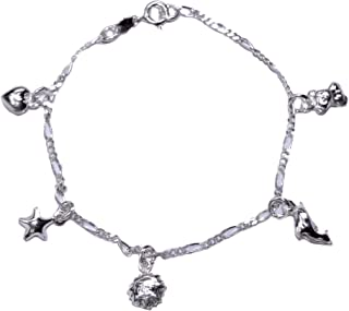 Loox Garnet Bracelet femme en argent 925/1000 blanc, 18 cm, 8,2 grammes