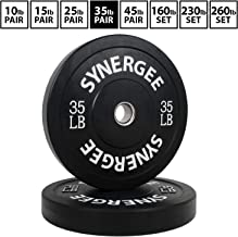 Synergee Bumper Plates Weight Plates Strength Conditioning Workouts Weightlifting - Sold in Pairs and Sets