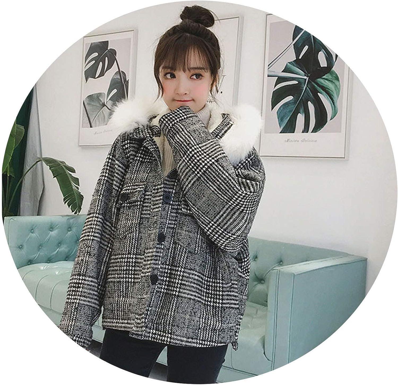 FantasticJourney Fleece Lined Jacket Winter Thick Warm Coat Elegant Single Breasted Plaid Wool Jacket