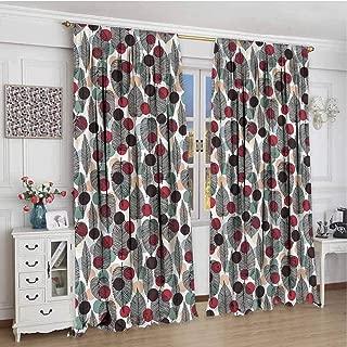 June Gissing Leaves Boho Curtains for Bedroom 72 inch Length, Vintage Polka Dot Design Room Darkening Roman Shades 84 x 72