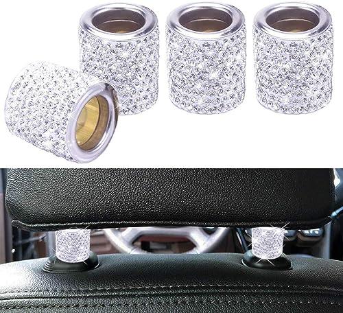 FEENM Car Headrest Head Rest Collars Rings Decor Bling Bling Crystal Diamond Ice for Car SUV Truck Interior Decoratio...