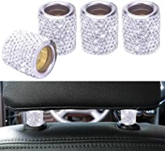 FEENM Car Headrest Head Rest Collars Rings Decor Bling Bling Crystal Diamond Ice for Car SUV Truck Interior Decoration Blings 4 Pack White