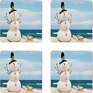 Ambesonne Snowman Coaster Set of 4, Winter Vacation Holiday Theme Snowman with Seashells Sitting on Sandy Beach Coastal, Square Hardboard Gloss Coasters, Standard Size, Blue Sand