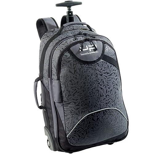 Bagage Cabine Petite Valise à roulettes Facettes, Noir et Gris, avec Compartiment Ordinateur sécurisé