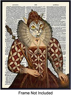 Cat Queen Dictionary Wall Decor Picture - Upcycled Modern Art Poster Print Makes Great Gift or Home Decor, Decorations for Renaissance Fair and Festival Fans - 8x10 Vintage Style Retro Unframed Photo