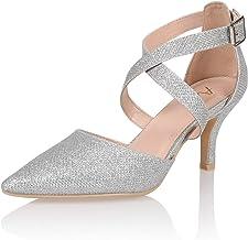 AIIT Women's Fashion Stiletto Mid Heel Sandal Pump Shoe