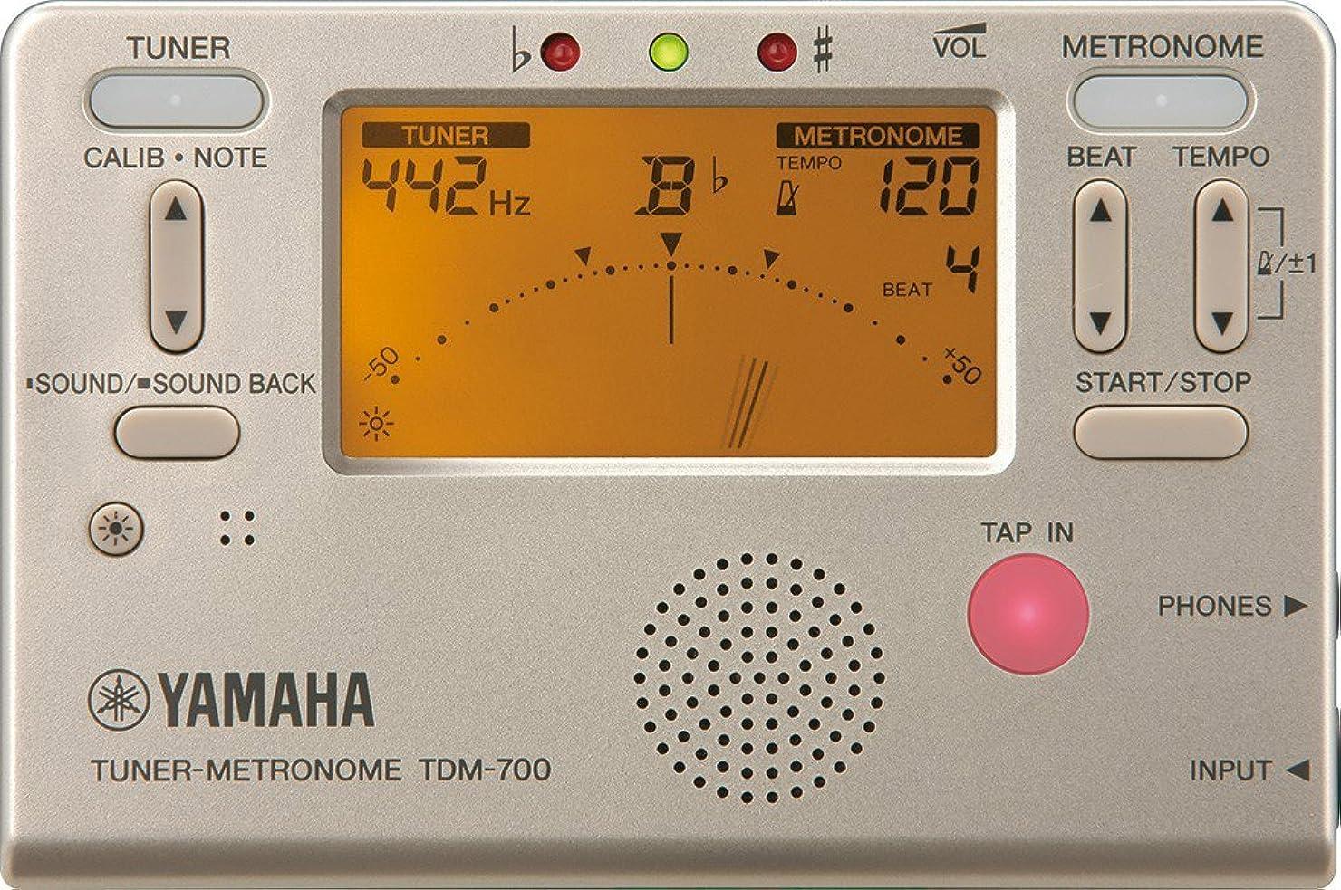 ブラジャー海里寝具ヤマハ YAMAHA チューナーメトロノーム ゴールド TDM-700G チューナーとメトロノームが同時に使えるデュアル機能搭載 サウンドバック機能 日常の練習に最適