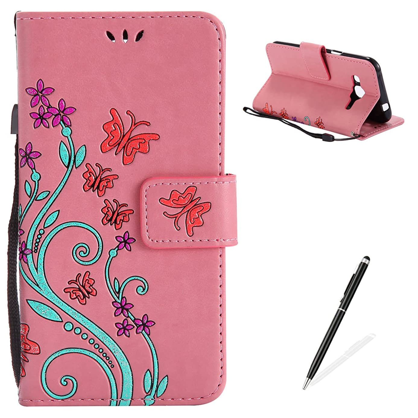 MAGQI Samsung Galaxy J2 Case, Premium Slim Fit Flip PU Leather Stand Wallet Book Style Case with Card Slots Magnetic Closure Embossed Rose Flower Butterfly Pattern Cover