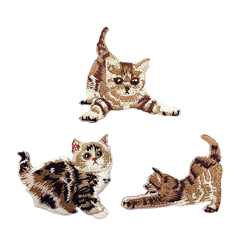 Shuxy Cut Cats Embroidered Patches 3 Packs Self Adhesive Embroidered Custom Backpack Patches for Men, Women, Boys, Girls, Kids