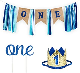 1st Birthday Boy Decorations with Burlap Highchair Banner, Cake Topper, Blue Hat Crown for Happy First Birthday Party Decoration Supplies