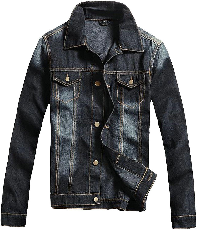 Cromoncent Mens Casual Washed Distressed Western Cowboy Jean Coat Denim Jacket