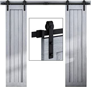 EaseLife 6.6 FT Double Door Sliding Barn Door Hardware Track Kit,Heavy Duty,Easy Install,6.6FT One Piece Track,Slide Smoothly Quietly,Fit Double 20