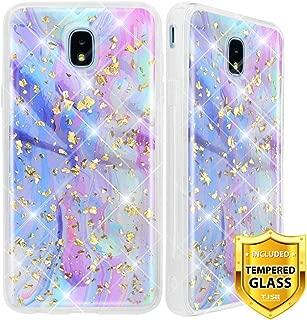TJS Galaxy J7 2018/J7 Refine/J7 Star/J7 Eon/J7 TOP/J7 Aero/J7 Crown/J7 Aura/J7 V 2nd Gen Case, with [Full Coverage Tempered Glass Screen Protector] Shiny Glitter Back Skin Body Bumper Case (Colorful)