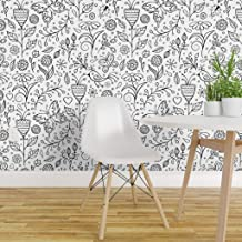 Spoonflower Peel and Stick Removable Wallpaper, Flower Spring Summer Coloring Floral Line Drawing Neighborhood Sketch Hand Drawn Print, Self-Adhesive Wallpaper 12in x 24in Test Swatch