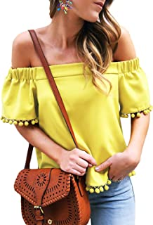 Womens Casual Off Shoulder Short Sleeve Pop Pop Tassel Tops and Blouses S-XXL