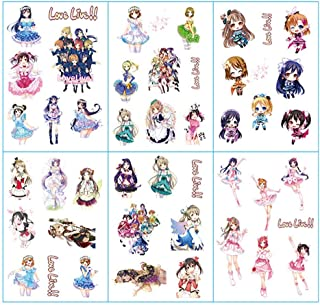 Bowinr 6 Pack Japanese Anime Stickers, Kawaii DIY Decal for Notebook, Journal, Gift Box and Scrapbooking Decoration (Love Live! School Idol Project)