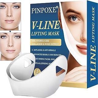 V Gesichtsmasken,V line Maske,V Form Maske,V Förmige Maske,V Face Lift Maske,V-Shaped Slimming Mask Lifting Up Firming Moisturizing Gesichtspflege, 5PCS Anti Aging Maske, V-Line Anti-Falten Straffend