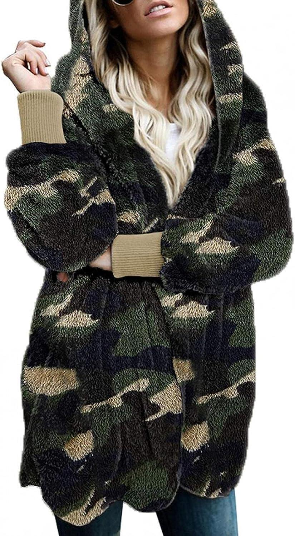 Women's Flannel Hoodie Full Zip Camo Jackets Long Sleeve Tops Oversized Winter Coat With Pockets