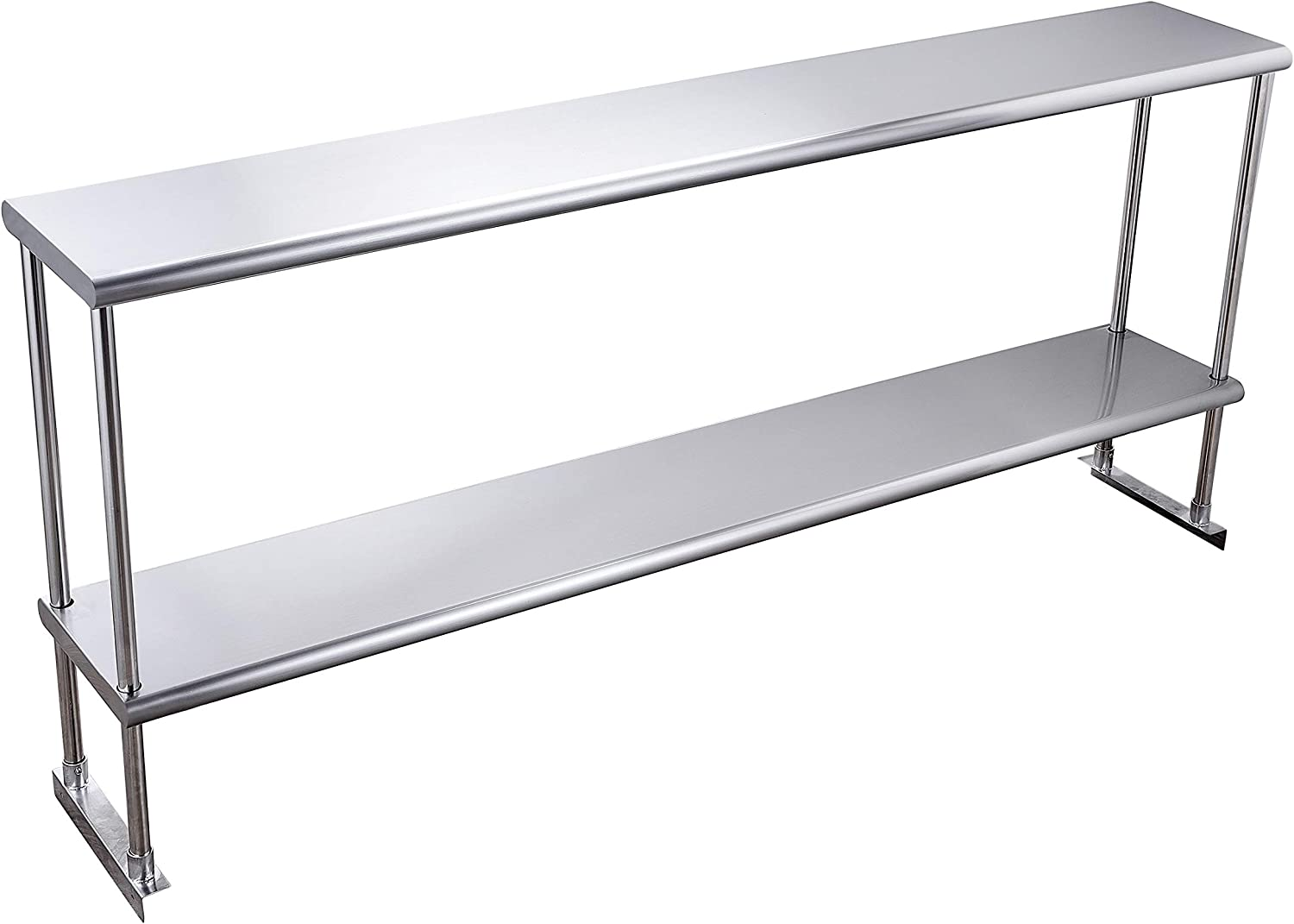 Hally Double Overshelf Max 61% OFF of Stainless Steel safety x 72'' 12'' Weight Cap