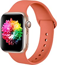 Zedoli Compatible with Apple Watch Band 38mm 40mm, Soft Silicone Sport Band Compatible for iWatch Series 5/4/3/2/1, S/M, Coral