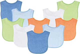 Luvable Friends Unisex Baby Drooler Bibs, Blue 10-Pack, One Size