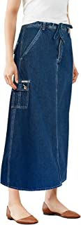 Womens Super Comfy Long Denim Maxi Skirt Size