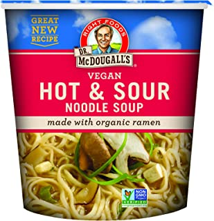 Dr. McDougall's Right Foods Vegan Hot & Sour Ramen, 1.9 Ounce Cups (Pack of 6) Non-GMO, No Added Oil, Made w/ Organic Steamed Noodles, Paper Cups From Certified Sustainably-Managed Forests