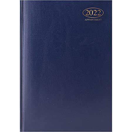 Premium Quality | A5 Day to Page Appointment Diary 2022 |Hardback Casebound DAP Year Planner for Appointments (BLUE)