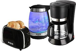 Bouilloire verre LED Bleues 2000W 1.7L + Grille pain 2 fentes 700W + Cafetière 680W 1.2L